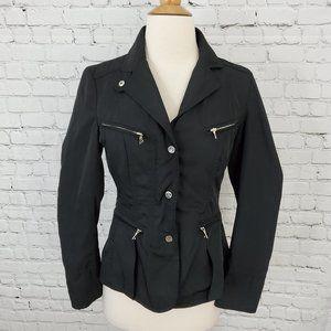 Sandra Angelozzi Black Moto Military Jacket 32 XS